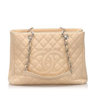 Chanel Beige Clair Caviar Leather Grand Shopping Tote