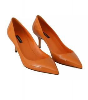 Dolce & Gabbana Orange Patent Leather Pumps