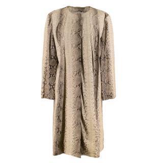Michael Kors Natural Python Leather Longline Coat
