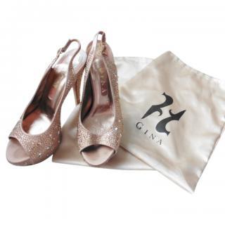 Gina Crystal Embellished Peep Toe Sandals