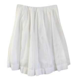 Joseph White Cotton Pleated Skirt