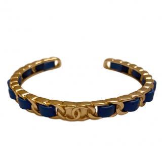 Chanel Blue Calfskin CC Open Chain Bracelet
