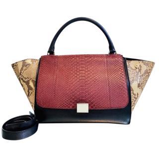Celine Tri-Colour Python & Leather Trapeze Bag