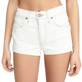 Re/Done light wash double needle western shorts