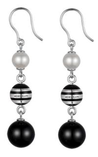 Montblanc Onyx, Pearl & Silver Drop Earrings