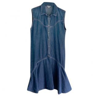 Kenzo Ruffle Hem Denim Sleeveless Dress
