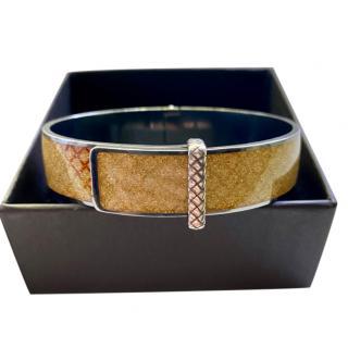 Bottega Veneta Gold Enamel Oro Intrecciato Bangle
