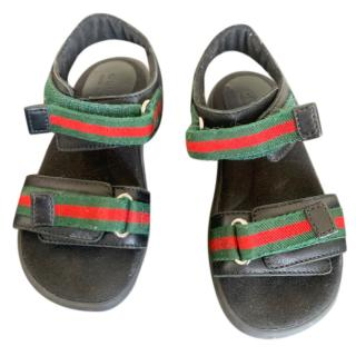 Gucci Kid's Web Stripe Sandals