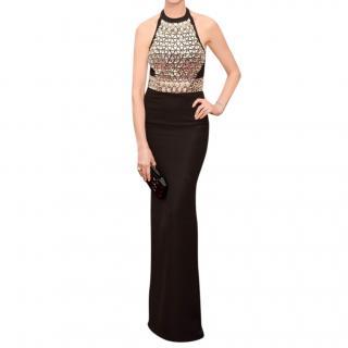 Gucci Black Silk Crystal Halterneck Gown