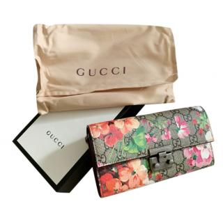 Gucci Blooms padlock Continental wallet on chain
