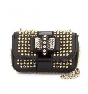 Christian Louboutin black & gold studded sweet charity crossbody bag