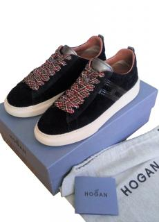 Hogan H365 Corduroy Sneakers with Plaid Laces