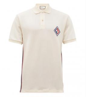 GUCCI Diamond Logo-patch cotton-blend polo shirt