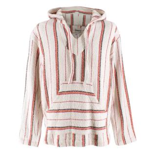 Monitaly Cream & Red Striped Linen Blend Hoodie
