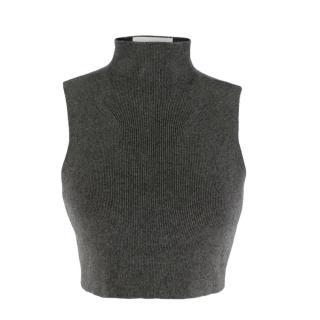 Charlie May Grey Ribbed High Neck Crop Top