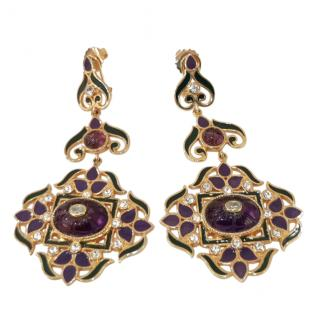 Percossi Papi Amethyst & Crystal Enamel Drop Earrings