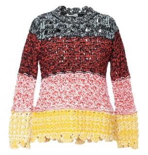 Sonia Rykiel Striped Crochet Knit Sweater