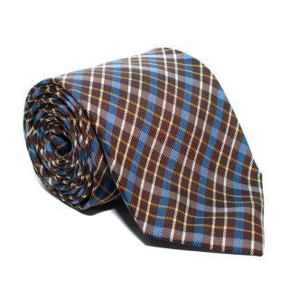 Drake's Brown & Blue Checked Silk Tie