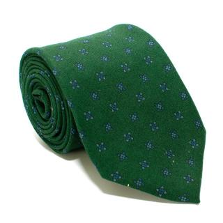 Petronius Green Floral Print Wool Blend Tie