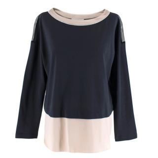 Fabiana Filippi Navy Blouse with Cotton-Silk Inserts