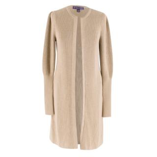 Ralph Lauren Collection Beige Knitted Longline Cardigan