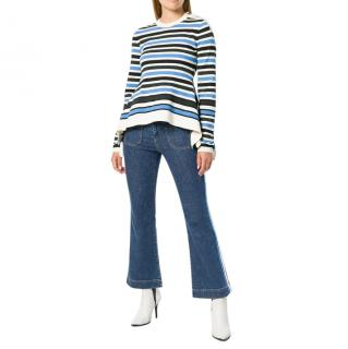 Sonia Rykiel striped peplum knitted top