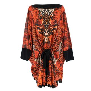 Roberto Cavalli Red Floral Printed Knit Tunic