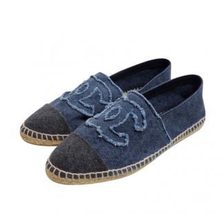 Chanel Black & Blue Denim Espadrilles