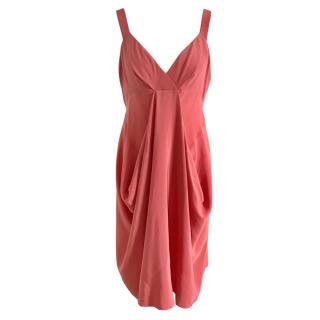 Donna Karan Coral Draped Sleeveless Dress
