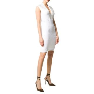 Balmain White Knit Embellished Mini Dress