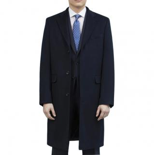 Ede & Ravenscroft Warrington Navy Wool Cashmere Coat