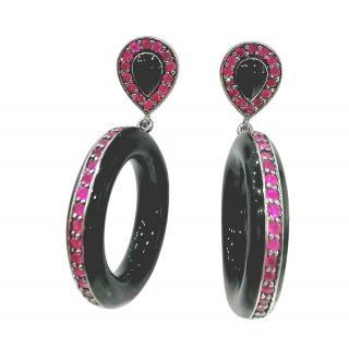 Bespoke Onyx & Ruby Hoop Drop Earrings