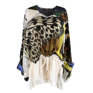 Roberto Cavalli Printed Long-Sleeved Silk Blouse