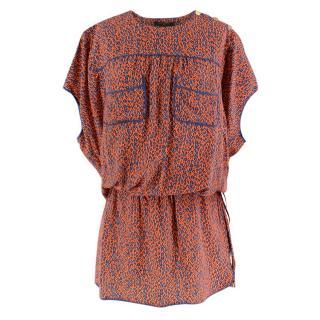 Louis Vuitton Orange Leopard Print Silk Draped Short Sleeve Dress