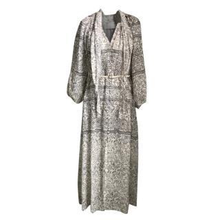 Zimmermann Linen Beige & White Printed Button Front Dress