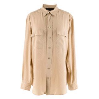 Ralph Lauren Beige Long Sleeve Silk Blouse Shirt