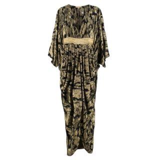 Michael Kors Gold & Black Metallic Draped Dress with chain belt