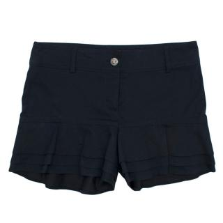 Chanel Navy Cotton Mid-rise Frilled Shorts