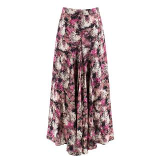 Raey Pink Floral Silk Draped Midi Skirt