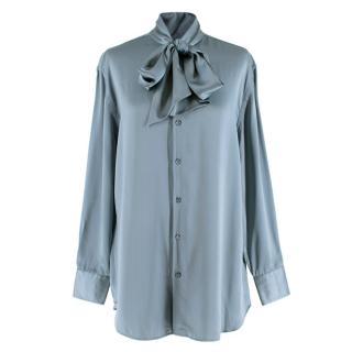 Ralph Lauren Collection Blue Silk Tie-Neck Blouse