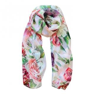 Dolce & Gabbana Peony printed silk wrap scarf