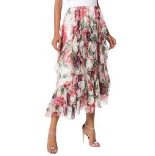 Dolce & Gabbana Peony Print Ruffled Silk Skirt