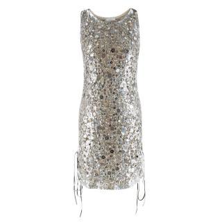 Emilio Pucci Lace-Up Metallic Sequin Embellished Mini Dress