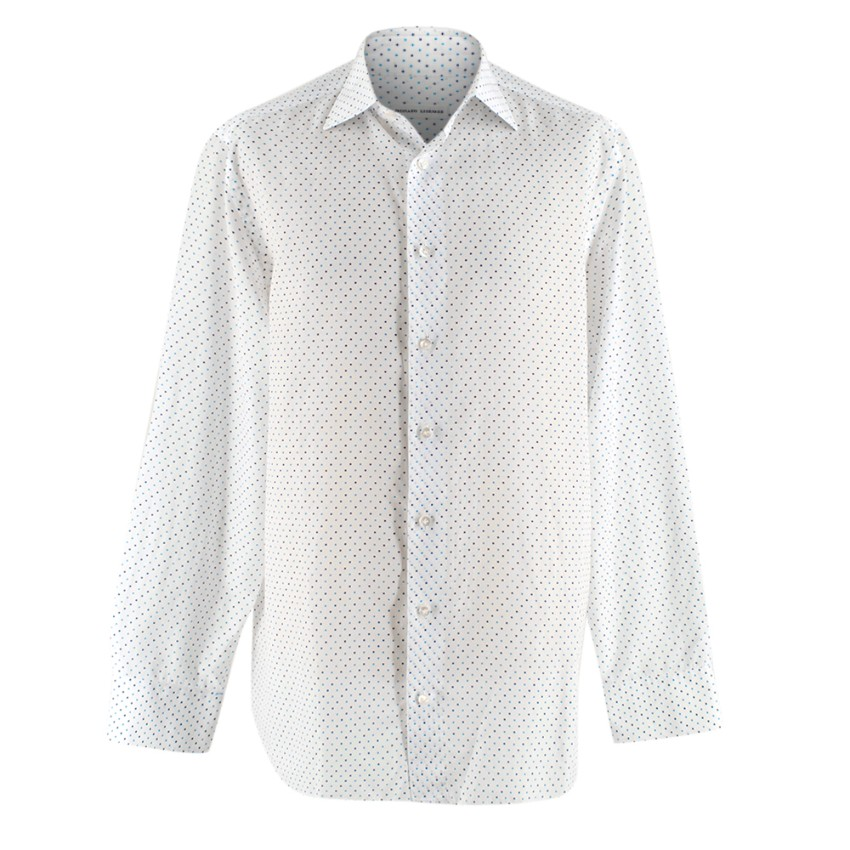 Donato Liguori White & Blue Spotted Bespoke Tailored Shirt