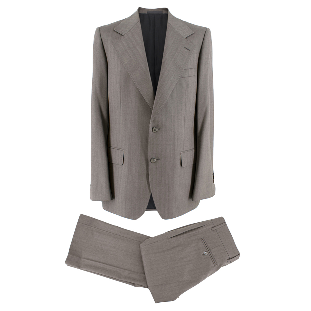 Yves Saint Laurent Grey Striped Wool Suit