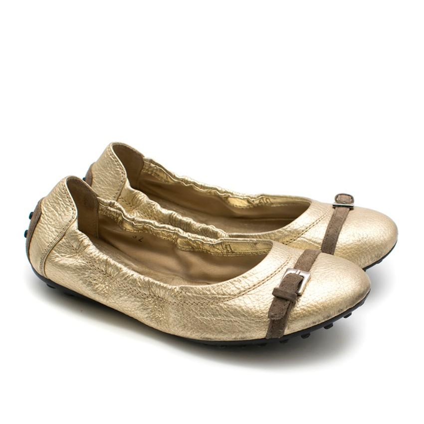Tod's Gold Driving Ballerinas