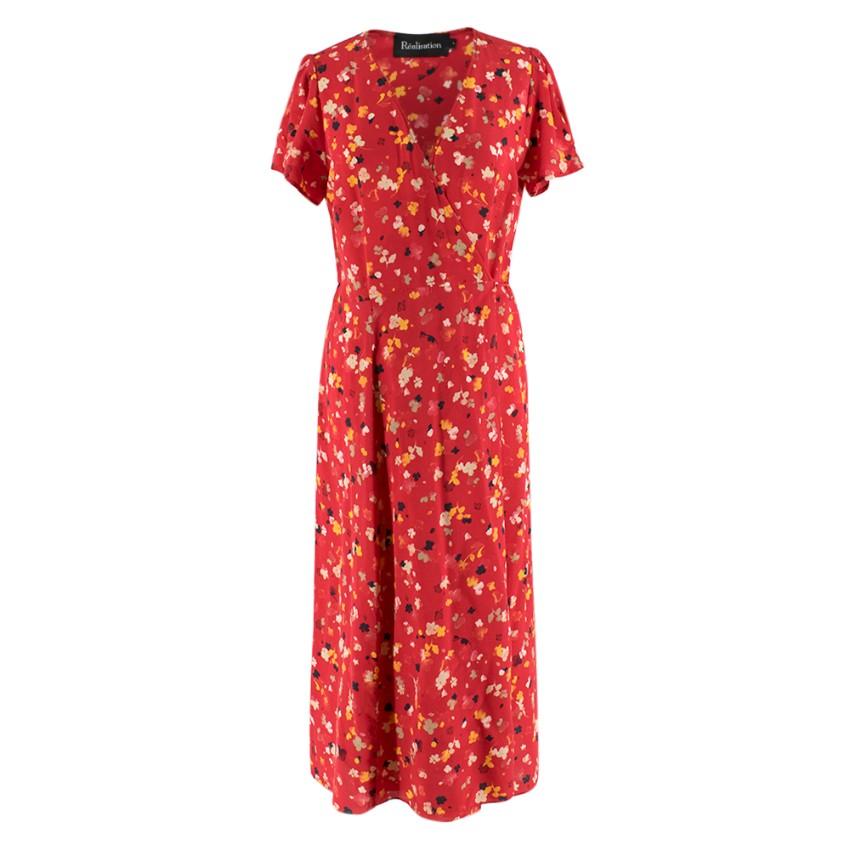 Realisation Silk Floral Print Wrap Dress