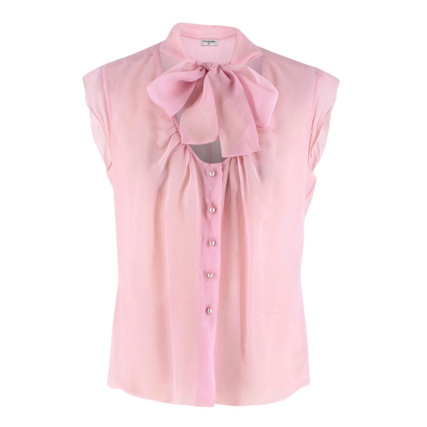Chanel Pink Sheer Sleeveless Pussybow Blouse