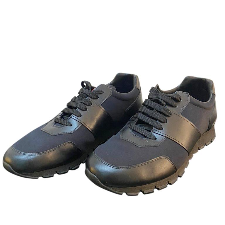 mens black prada trainers