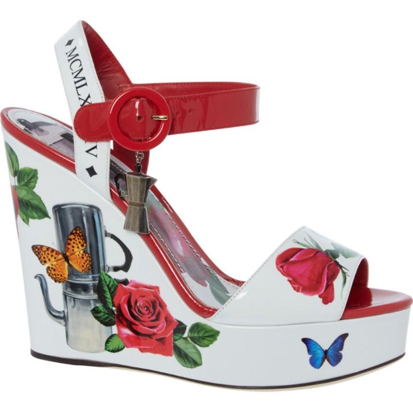 Dolce Gabbana Floral Print Wedge